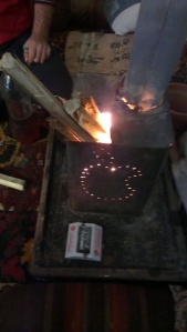 Handmade wood stove in Saraqeb, made by broke activists.